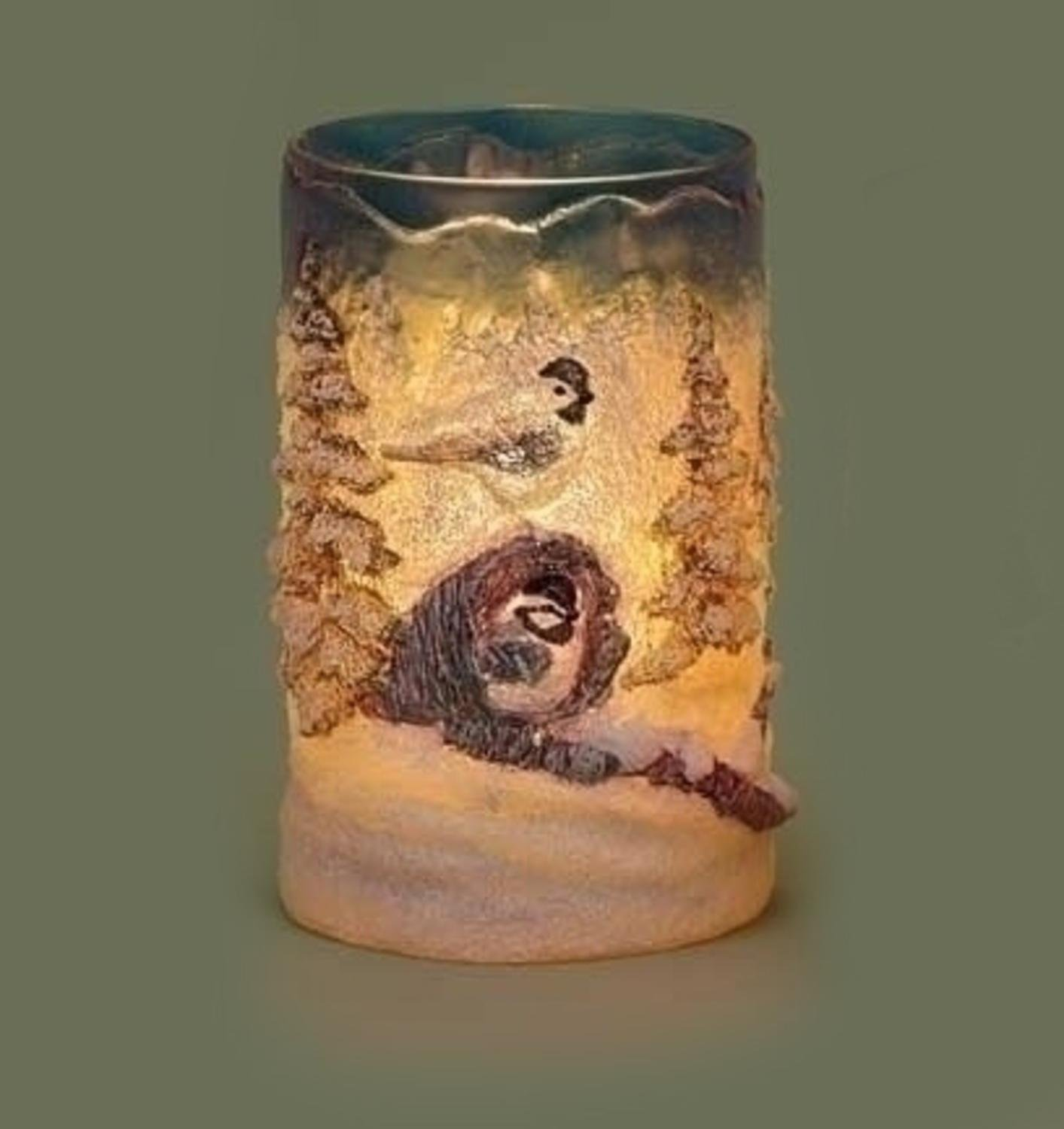 6'' Country Rustic Winter Forest Scene with Birds Textured Christmas Votive Candle Holder