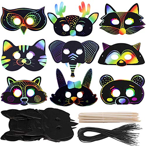 36 Set Scratch Art Masks for Kids, DIY Rainbow Scratch Paper Animal Masks Magic Scratch Art Set Animal Cutouts Doodle Masks with Elastic Cords & Wood Stylus for Costume Dress up Party (36 Pcs)