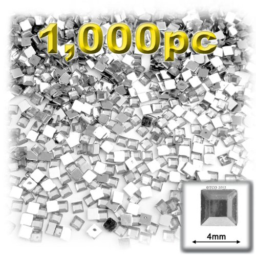 The Crafts Outlet 1000-Piece Flat Back Loose Square Rhinestones, 4mm, Crystal Clear