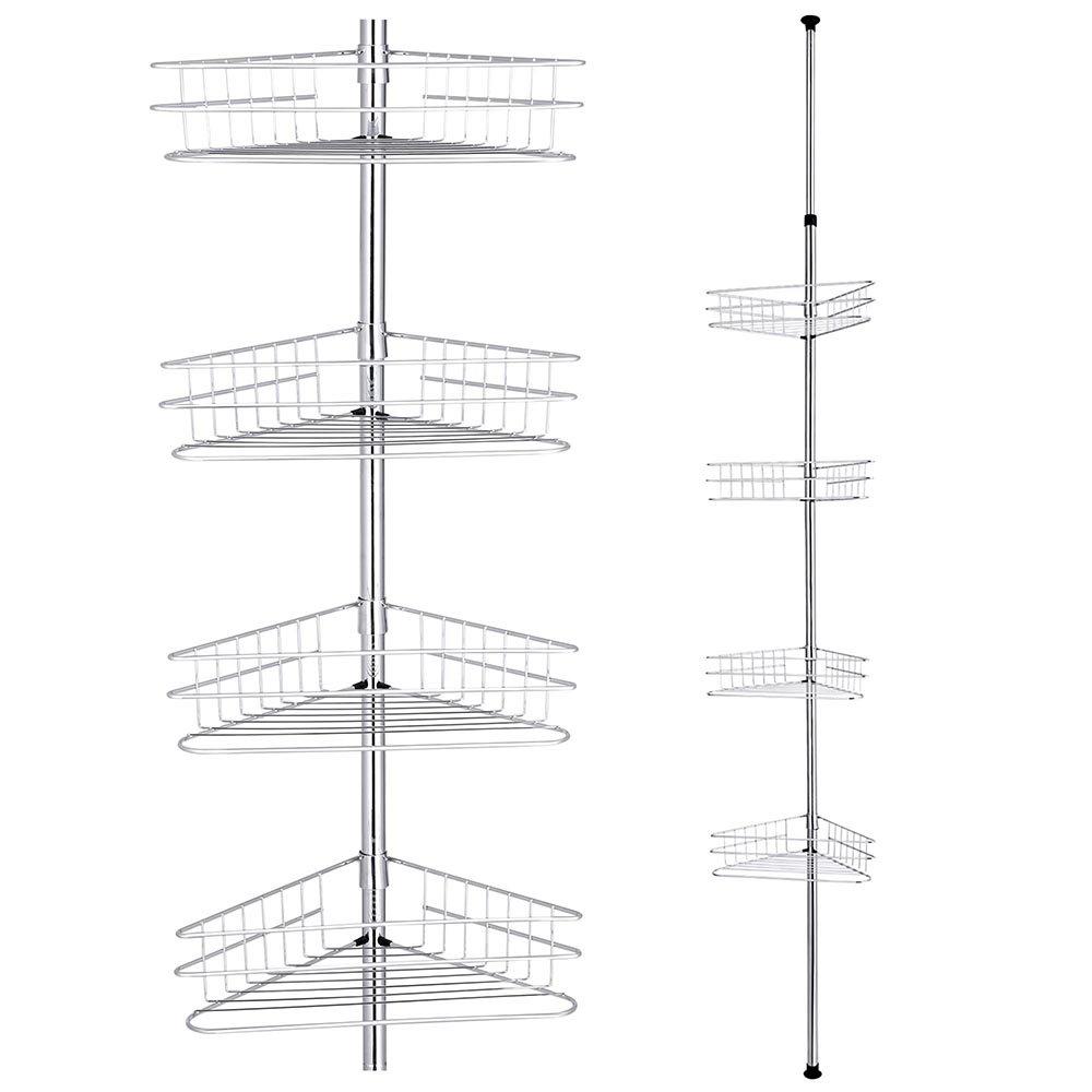 Yescom 4 Tier Metal Bathroom Telescopic Corner Shower Shelf Caddy Pole Wall Rack Storage Organizer Soap Holder Black BHBUKPPAZINH1489