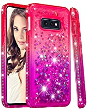 for Samsung Galaxy S10e Case Glitter Liquid and Screen Protector,QFFUN Bling Sparkle Quicksand Gradient Colors Design Shiny Diamond Frame Clear Slim Fit Protective Phone Case Bumper - Pink and Purple