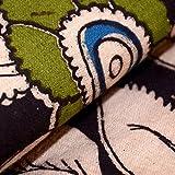 Shopolics Black-Green and Beige Flower Pattern Kalamkari Cotton Fabric-5457Dress Material, Fabric
