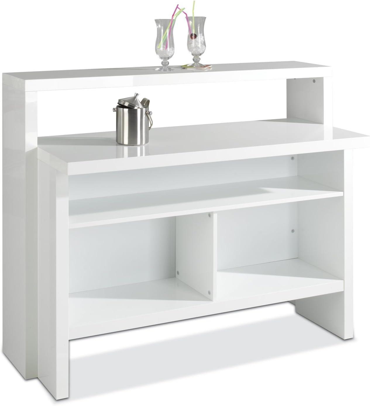 Hausbar Bar Minibar | Dekor | Weiß Hochglanz | B 130 cm x H 110 cm x T 50 cm: Amazon.de: Küche & Haushalt - Cocktailbar kaufen