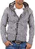 Behype Men's cardigan sweater jumper 1013 Gray Black Darkgray (Gray, L)