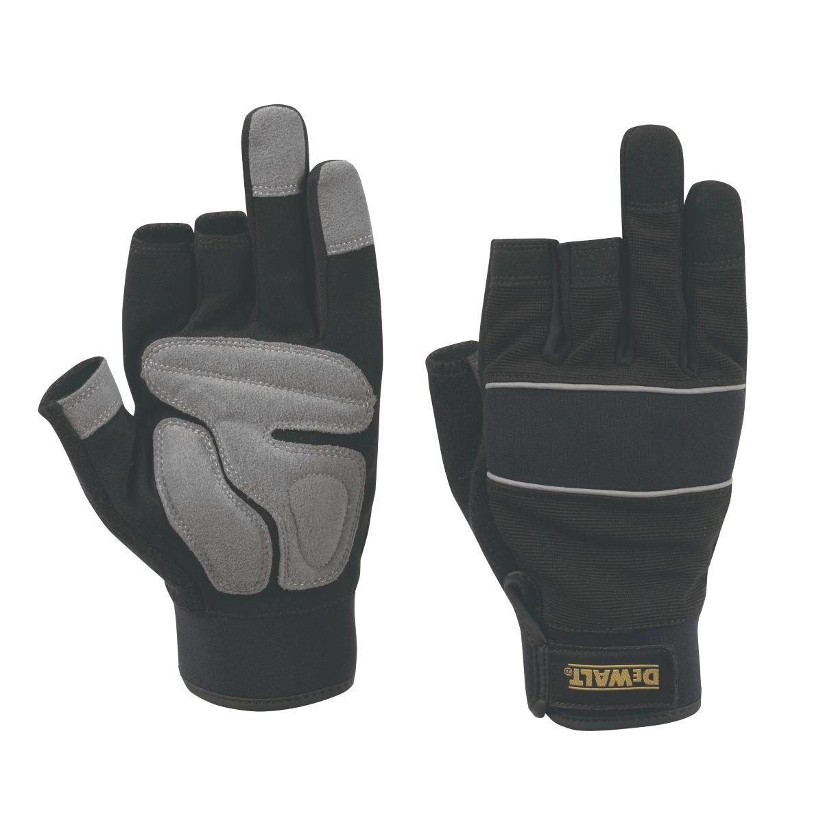 Leather work gloves screwfix - Dewalt Performance Performance 3 Finger Framers Gloves Black Grey Large