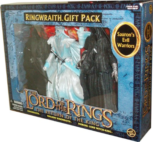 ToyBiz Year 2004 The Lord of the Rings Movie Series The Return of the King 3 Pack Set - RINGWRAITH Gift Pack with 3 Sauron's Evil Warriors - Ringwraith with Sword Slashing Action, Twilight Ringwraith with Sword Jabbing Action and Witch King RingWraith with Sword Lunging (Witch King Of Angmar Helmet)