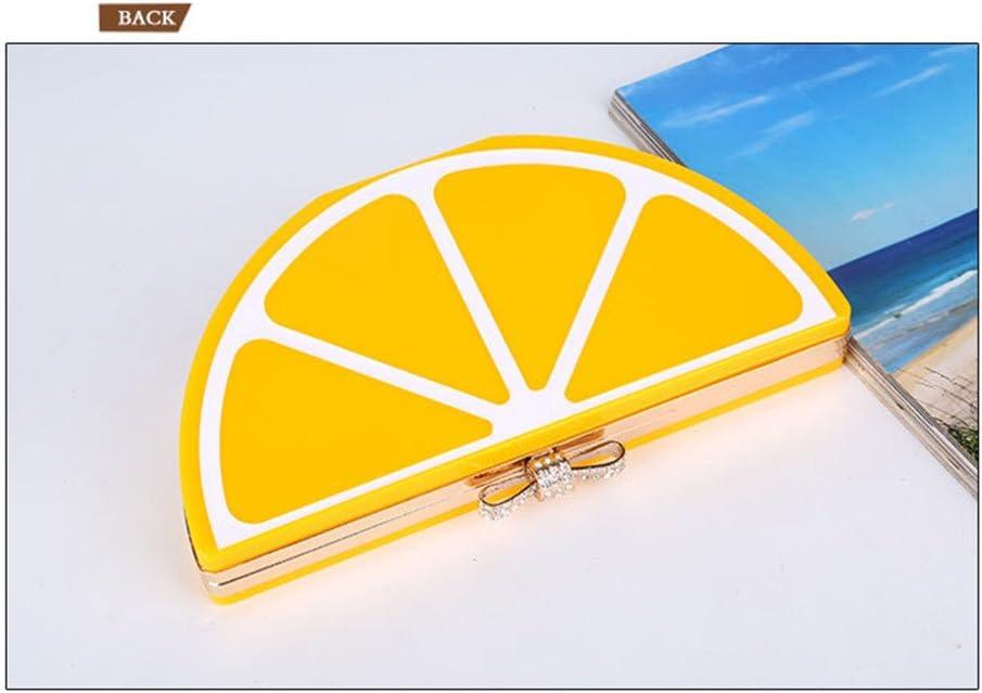 Abendtasche Damen Stilvolle Acryl kleine Abend Clutch Geldbörse Dame Wassermelone Zitrone Form kreative Kette Strap Umhängetasche Umhängetasche Damen-Clutches (Color : Red) Yellow