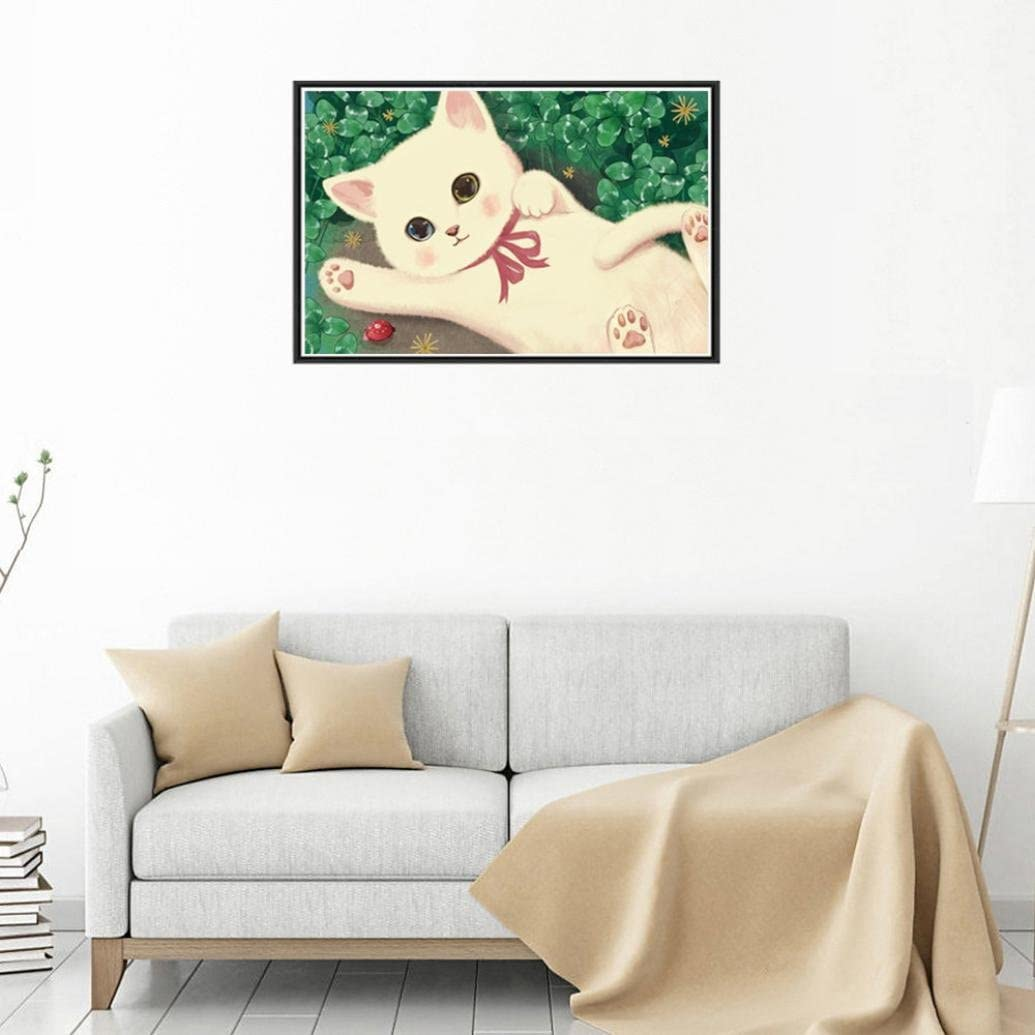 DIY 5D Diamond Painting by Number Kits Full Round Drill Animals Embroidery Rhinestone Cross Stitch Arts Craft Canvas for Home Wall Decoration 25x35cm, Cat 5