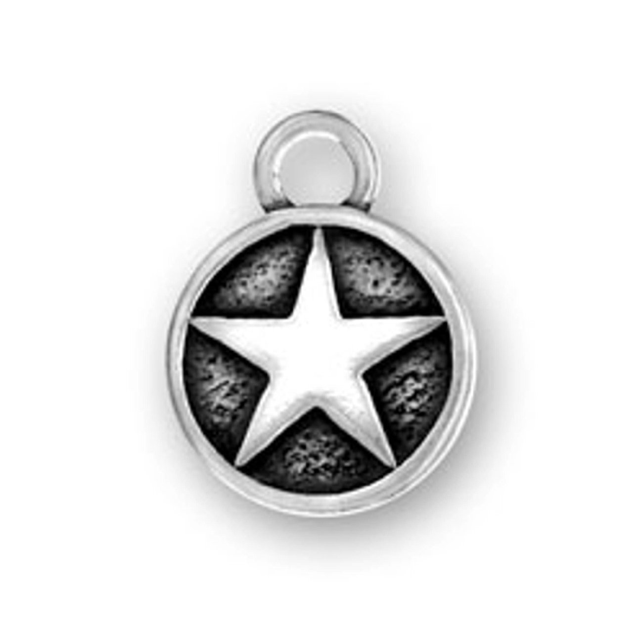 Sterling Silver Girls .8mm Box Chain Military Armed Forces Star Circle Pendant Necklace