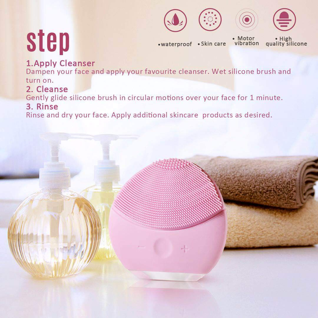 Silicone Facial Cleanser, Xiaoyi Facial Cleansing Brush Sonic Electric Waterproof Silicone Face Massager Anti-Aging Skin Cleansing System for All Skin Types-Pink