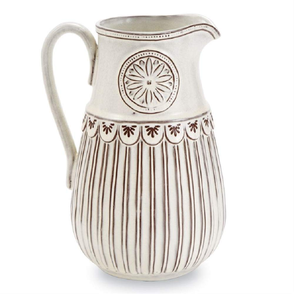 Mud Pie Flower Crest Terracotta Pitcher