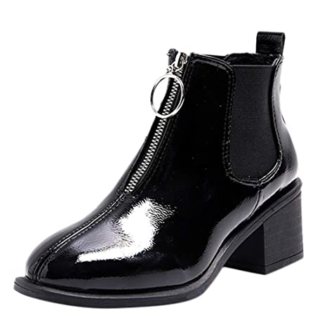 LuckyGirls Botas de Nieve de Mujer Charol Cremallera Anillos Metálicos Moda Botine Botina Zapatillas Casuales Calzado