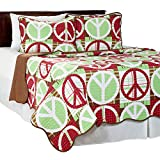 Lavish Home 2 Piece Peace Quilt Set, Twin, Brown/Red