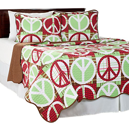 Bedford Home 2 Piece Peace Quilt Set, Twin, Brown/Red