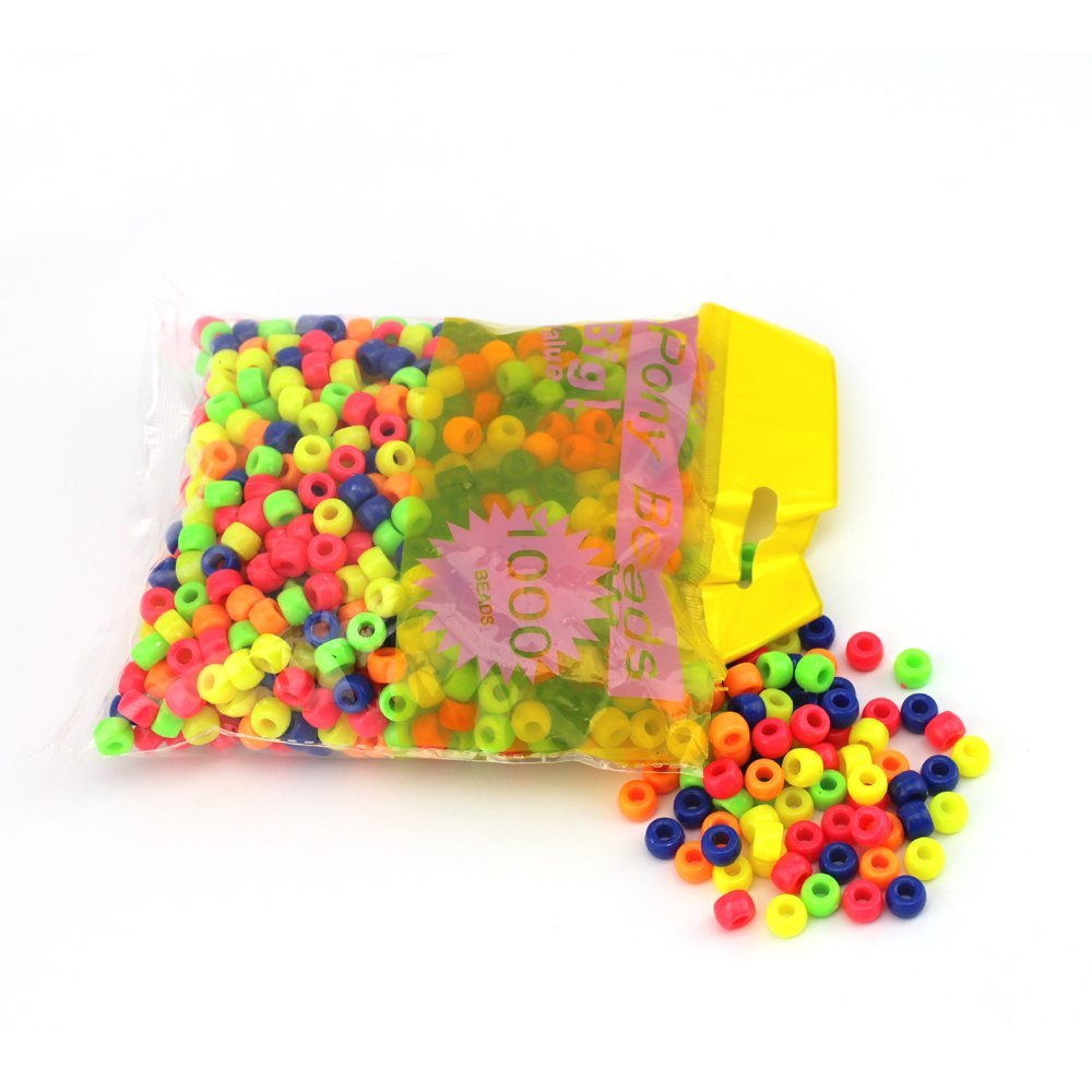 arkCRAFT One Pack of Multi Neon Colour Pony Beads - 1000pcs KID0011