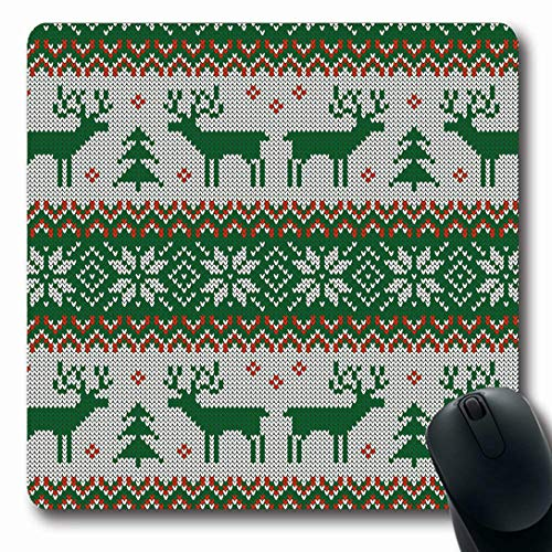 Ahawoso Mousepads for Computers Norway Green Christmas Knitted Pattern Deers Scandinavian Sweater Red Jumper Nordic Crochet Design Oblong Shape 7.9 x 9.5 Inches Non-Slip Oblong Gaming Mouse Pad