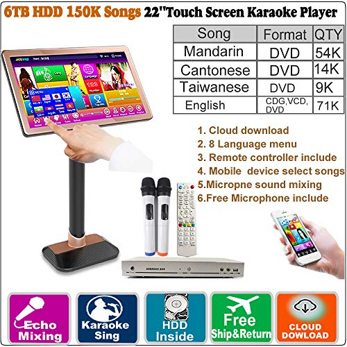 (6TB HDD,150K Chinese(Mandarin,Cantonese,Taiwanese,English) Songs,22'' Touch Screen Karaoke Player, Wireless Microphone input, ECHO Mixing,Cloud Download,Free Microphone and Remote Controller include)