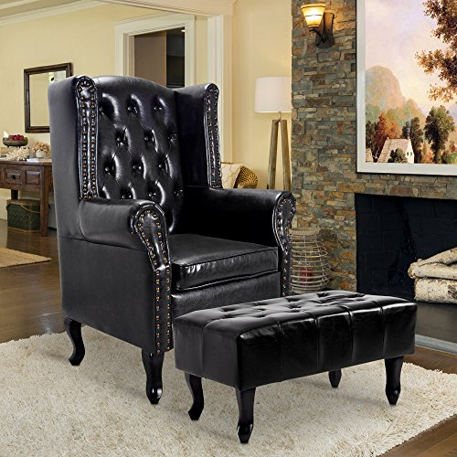 Chair Black Leather (Cloud Mountain Tufted Accent Chair and Ottoman Black Leather Club Chair Couch)