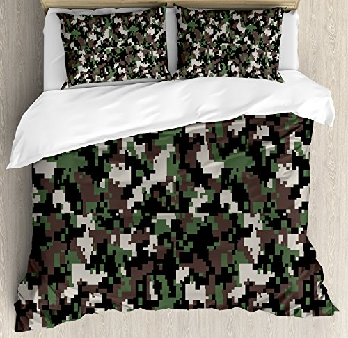 - Ambesonne Camo Duvet Cover Set Queen Size, Pixelated Pattern Digital Effect Modern Conceptual Camouflage Texture, Decorative 3 Piece Bedding Set with 2 Pillow Shams, Army Green Beige Brown