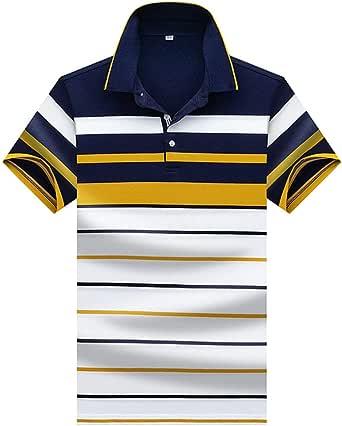 Polo Hombre Manga Corta Camiseta Casual 100% Puro Algodón - Blanco Amarillo: Amazon.es: Ropa y accesorios
