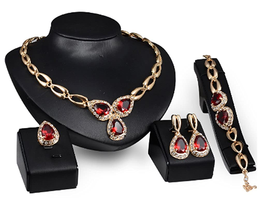 AmaranTeen Jewelry Sets 18K Gold Plated Ruby Amethyst African Beads