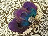 Oh Lucy Handmade ZAZA Purple Peacock Feather Hair Comb, Feather Fascinator