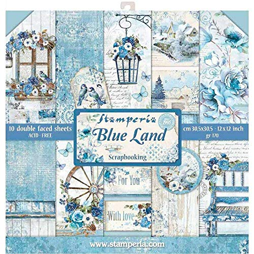 Stamperia 12x12 Paper Pad - Blue Land (10 Double Sided ()
