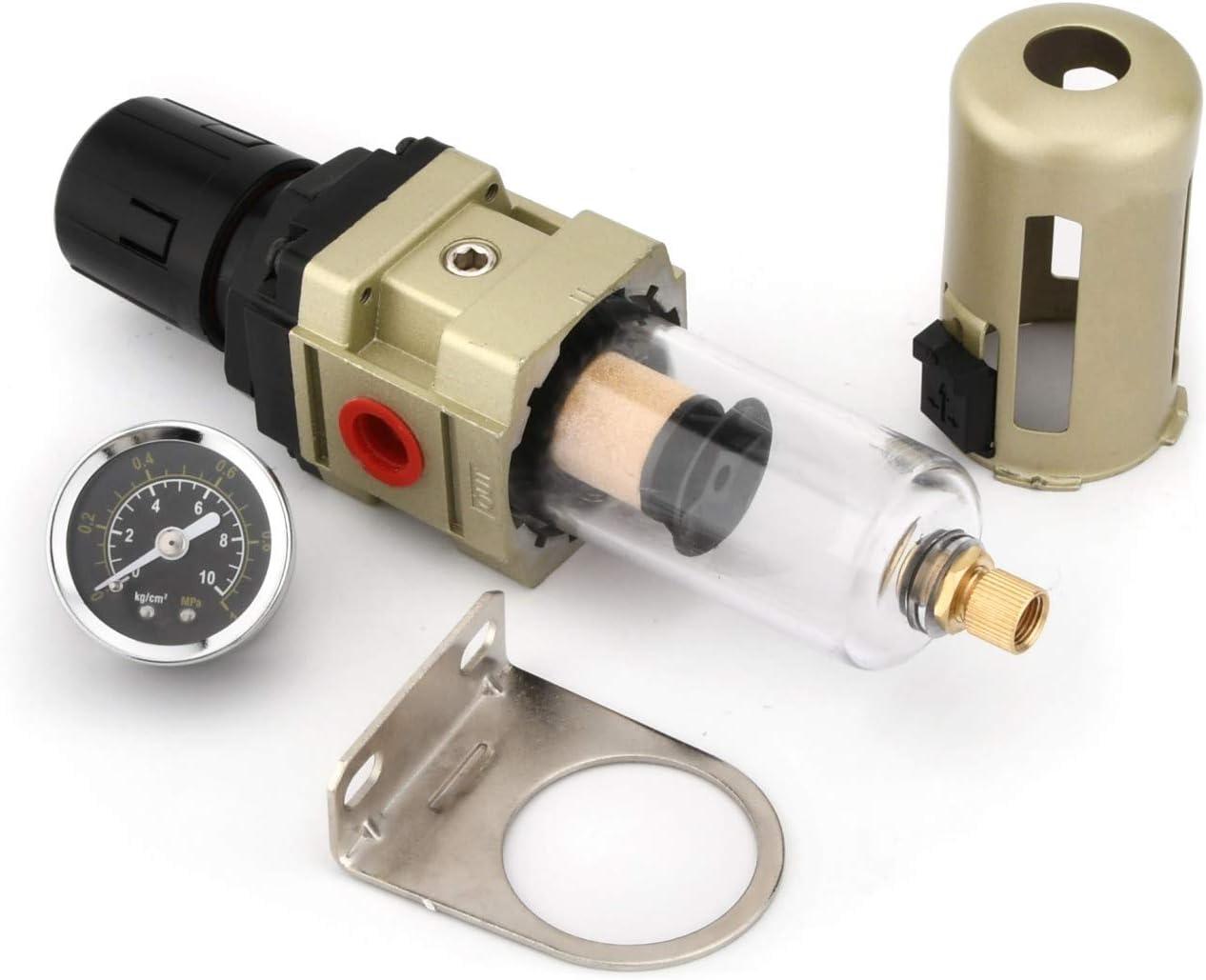 con pantalla met/álica filtro de 3//8 de pulgada Separador de agua Reductor de presi/ón Regulador de aire comprimido para compresor de aire comprimido