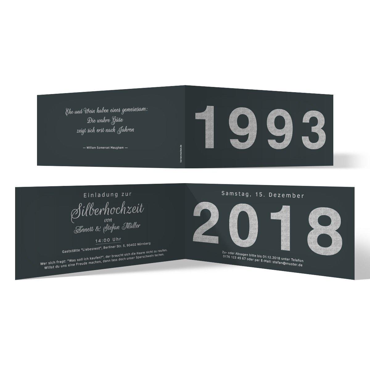 100 x Hochzeitseinladungen Silberhochzeit silberne Hochzeit Einladung - Jahrzehnt Sprung B07G2JXZ8S | Deutschland Berlin  | Online einkaufen  | Modern Und Elegant