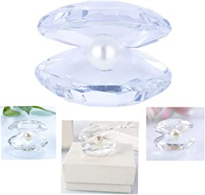 H&D Crystal Glass Figurines Reflective Sea Shell with an Artificial Pearl for Home Decor Wedding Gift