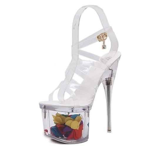 Para Huaishu Mujer Zapatos De Alto Plata Pescado Tacón Cabeza q4jL53RA