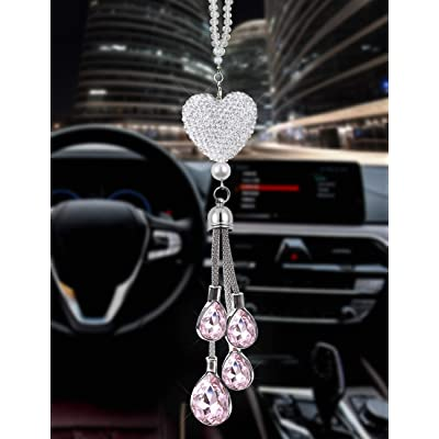 EZEYU Bling Car Rear View Mirror Charm,Crystal Sun Catcher Ornament,Car Charm Decoration,Rhinestone Hanging Ornament for Car & Home Decor (Pink): Automotive