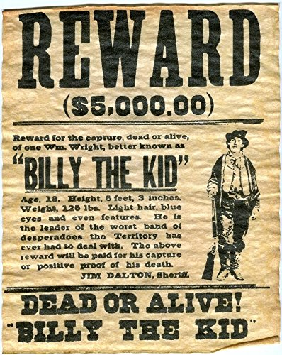 Billy The Kid Wanted Poster 8x10