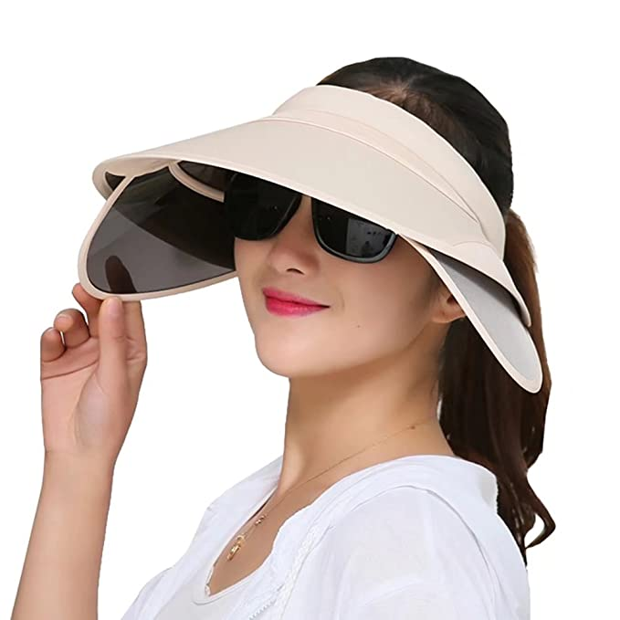 adead6bb002215 Womens Sun Hats with Retractable Visor Wide Brim Plastic Sun Visor UV  Protection Summer Beach Fishing