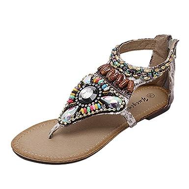 d0a0b710a01e3 Sunyastor Women s Bohemia Flip Flops Summer Beach T-Strap Flat Sandals  Comfort String Bead Flats