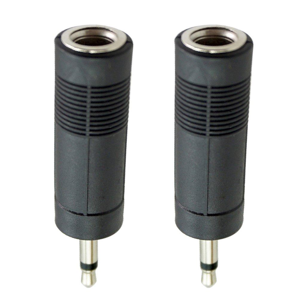 perfk 6, 35 mm auf 3, 5 mm Klinkenadapter Gitarrenkabel Adapter für Gitarren-Audiokabel (2 Stück) Schwarz - Schwarz