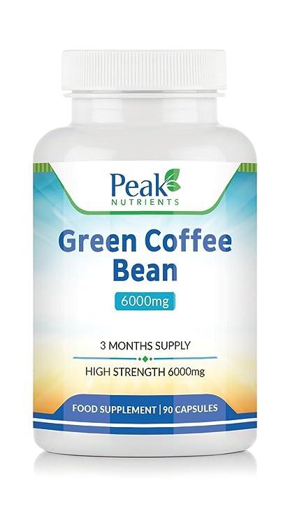 Extracto de Grano de Café Verde, 90 Cápsulas de 6000 mg (Suministro para 3