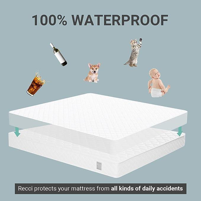 Mattress Cover: King Single Bianco /Anallergico in Policotone con Cerniera Stile /Bed Bug Proof Mattress Cover/ Victoria Bedding Impermeabile per Materasso/