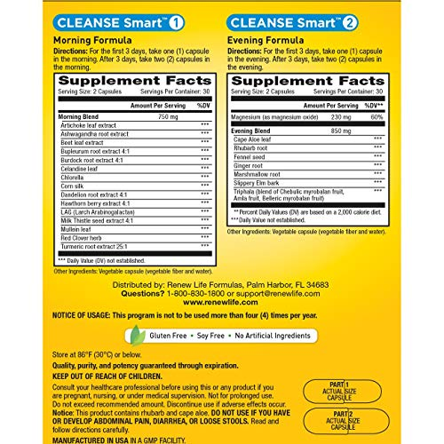 Renew Life Adult Cleanse - Smart Total Body Cleanse, Advanced - 2 Part, 30-Day Program - 120 Vegetable Capsules by Renew Life (Image #1)