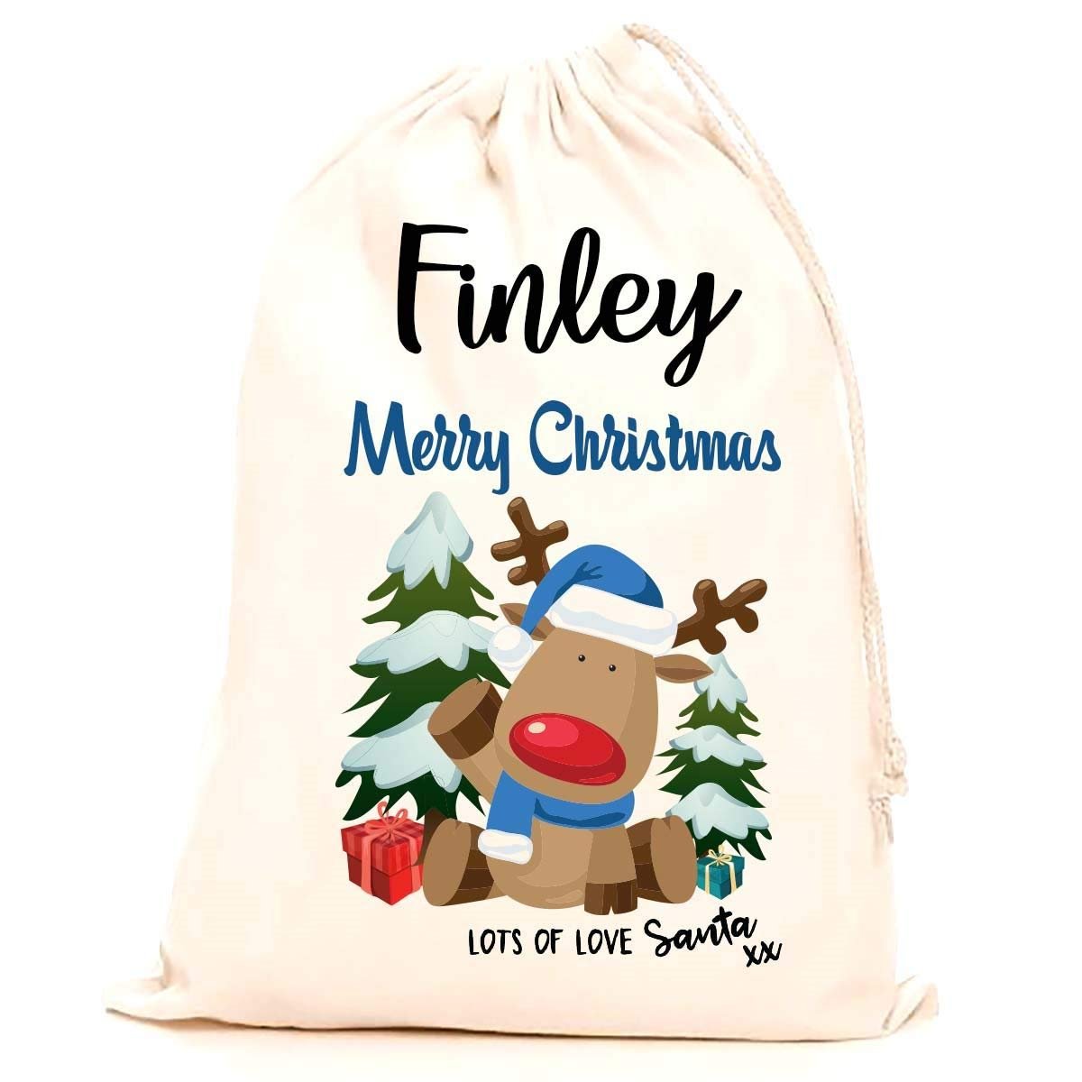 Treat Me Suite Finley personalised name Christmas santa sack, stocking printed with a blue reindeer (75x50cm) 100% Cotton Large. Children, Kids, making it the perfect keepsake xmas gift/present. CS Printing Limited