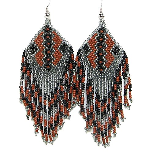 Southwestern Native American Inspired Geometric Beaded Earrings Handmade (Gray Brown)