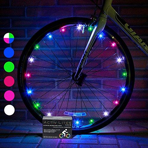 Super Cool LED Lampes de roue de vélo avec piles incluses. visible à tous les angles pour un niveau de sécurité et de style (1lot de pneu) à partir de Activ Life, multicolore, 1-Wheel