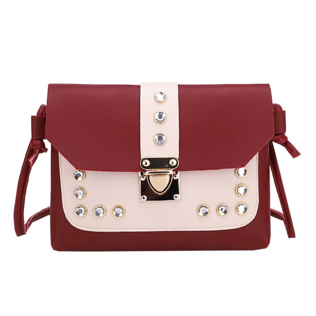 Inkach - Crossbody Bags | Fashion Womens Rhinestone Square Small Messenger Shoulder Bag | Coin Purses Mini Handbags by (Red)