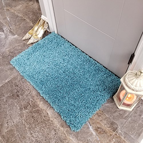 Maxy Home Bella Solid Turquoise Blue 1 ft. 8 in. x 2 ft. 7 i