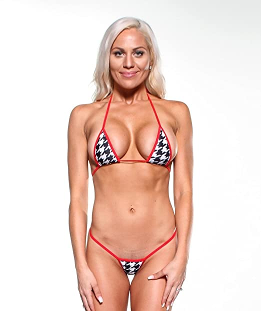 abeccc42d0f Amazon.com  Black White Houndstooth Sexy Micro G-String Bikini Mini Thong  Small Top w  Red  Clothing