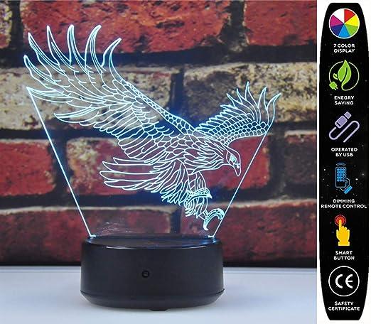 Amazon.com: Lámpara 3D ilusión luz nocturna, 0.63watts, 3.00 ...