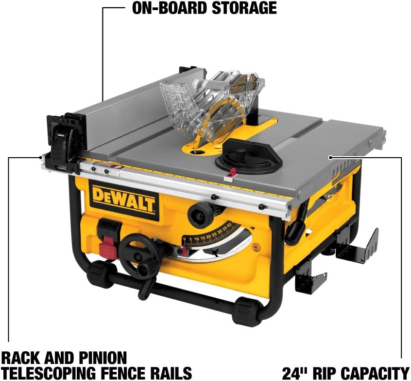 DEWALT 10-Inch Portable Table Saw with Stand DWE7480XA