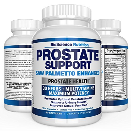 Prostate Supplement - Saw Palmetto + 30 HERBS - Reduce Frequent Urination, Remedy Hair Loss, Libido – Single Homeopathic Herbal Extract Health Supplements - Capsule or Pill - BioScience Nutrition