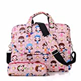 Comfysail 13-15Inch Cute Pattern Polyester Portable Messenger Laptop Shoulder Bag with Small Bag for MacBook Air, MacBook Pro, Notebook Computer (13 Inch, Little Girl)