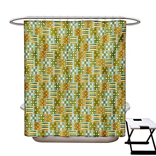 (Geometric Shower Curtains Digital Printing Abstract Vintage Pattern with Stripes and Squares Ornate Dots Flowers Design Satin Fabric Bathroom Washable W72 x L72 Multicolor)